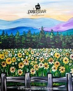 Vermont Field of Sunflowers Painting - Jackie Schon, The Paint Bar Painting & Drawing, Watercolor Paintings, Canvas And Cocktails, Paint Bar, Wine And Canvas, Mountain Paintings, Beginner Painting, Diy Canvas Art, Pictures To Paint