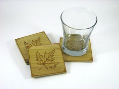 Wood Coasters  Wood Pyrography  Maple Leaf Coasters by bkinspired, $30.00