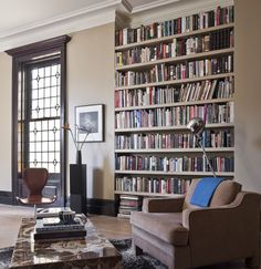Eclectic Living Room Built In Bookcase Design, Pictures, Remodel, Decor and Ideas - page 3 Floor To Ceiling Bookshelves, Library Bookshelves, Built In Bookcase, Bookcases, Bookshelf Wall, Bookshelf Styling, Casa Milano, Home Libraries, My Dream Home
