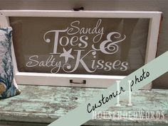 Sandy Toes and Salty Kisses Beach Wall Decal, Beach Decor Vinyl Wall Saying, Starfish Decals, Window Decals, Nautical Decals by HouseHoldWords on Etsy https://www.etsy.com/listing/126047608/sandy-toes-and-salty-kisses-beach-wall