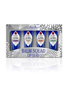 Balm Squad Lip Quad by Jack Black.  These SPF 25 lip balms are designed for men to keep lips healthy and protected all year long.