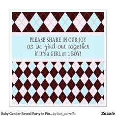 Shop Baby Gender Reveal Party in Pink & Blue Argyle Invitation created by kat_parrella. Personalize it with photos & text or purchase as is! Harry Potter Invitations, Zazzle Invitations, Gender Reveal Invitations, Baby Shower Invitations, Triplet Babies, Baby Gender Reveal Party, Reveal Parties, Baby Design, How To Introduce Yourself