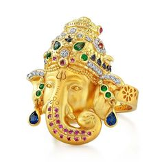 Buddha Mama Ganesha Ring with diamonds, emeralds, blue and pink sapphires Gold Finger Rings, Mens Gold Rings, Gold Rings Jewelry, Gemstone Jewelry, Fine Jewelry, Silver Rings, India Jewelry, Temple Jewellery, Fancy Jewellery