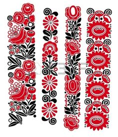 Traditional Hungarian floral patterns Stock Vector - 1644996416449964