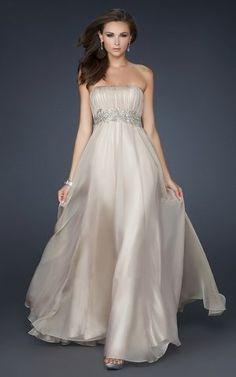 La Femme 15986 Nude Strapless Long Prom Dresses