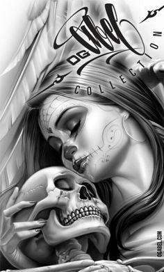 ☆ love lost 2 poster -::- by og abel ☆ art skull art, lowrid Og Abel Art, La Muerte Tattoo, Catrina Tattoo, Chicano Tattoos, Body Art Tattoos, Tatoos, Arte Marilyn Monroe, Arte Lowrider, Arte Dope