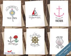 Our popular Nautical Sweetheart cards in an affordable set.  Great for Valentines day, mail drops, care packages or for when your love needs a little pick me up.   This set includes all six designs from our Nautical Sweetheart collection.    You Float My Boat You are My Anchor Sail Away with Me Sal