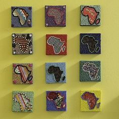 Africas beaded on canvas either partially or fully beaded in a variety of colours, sometimes featuring a fabric center 10cm x 10cm.