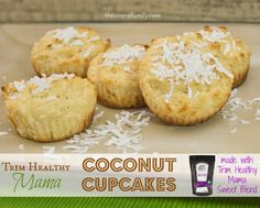 Trim Healthy Mama Coconut Cupcakes made with THM Sweet Blend! Sugar-free, Gluten-free, guilt-free dessert!
