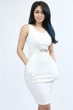 White sleeve bodycon dress