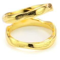 Gold-Tone Brushed Finish Ring, Size 7