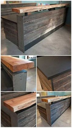 Modern rustic wood slab as bar top and reclaimed, with sides covered with rough hewn wood planks. Into The Woods, Deco Restaurant, Restaurant Design, Kitchen Designs Photo Gallery, Wood Slab, Wood Planks, Wood Wood, Dark Wood, Wood Steel