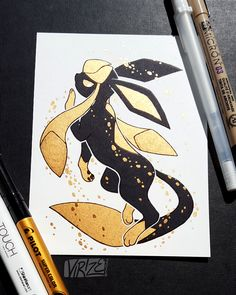 Tagged with Pokemon; If you remember the Black and Gold Vaporeon I drew a couple months ago, here's the rest of the Eeveelutions in the same style! Fan Art Pokemon, Mega Pokemon, Pokemon Eeveelutions, Eevee Evolutions, Pet Anime, Anime Art, Pokemon Especial, Pokemon Mignon, Photo Pokémon