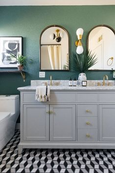 Upstairs Bathrooms, Downstairs Bathroom, Bathroom Renos, Small Bathroom, Master Bathroom, Bathroom Ideas, Art Deco, Bathroom Colors, Green Bathroom Paint