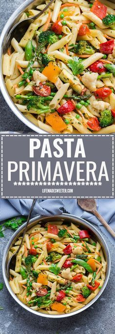 This Spring Pasta Primavera recipe comes together in under 30 minutes so it's perfect for busy weeknights. Best of all, you can serve it with or without chicken and it's chock full of fresh lemon, asparagus, snap peas, carrots and cherry tomatoes. Yummy Pasta Recipes, Vegetarian Recipes, Chicken Recipes, Dinner Recipes, Cooking Recipes, Healthy Recipes, Pasta Recipes Without Cheese, Light Pasta Recipes, Veggie Pasta Recipes