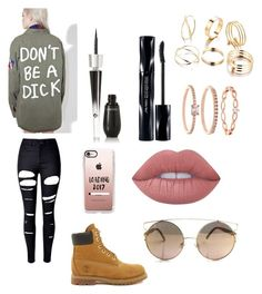 """Don't Be A Dick"" by zaddycellie on Polyvore featuring Jac Vanek, WithChic, Timberland, Lancôme, Lime Crime, Shiseido, Accessorize and Casetify"