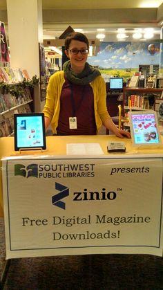 Erin Kilkenny's passive Zinio program: iPads displaying digital magazines & wallet sized info cards (library program)