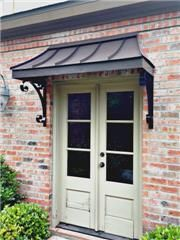 Project Gallery - Metal Canopy Design - Design Your Awning Metal Door Awning, Copper Awning, Front Door Awning, Porch Awning, Window Awnings, Front Porch, Entrance Doors, Patio Doors, Porches