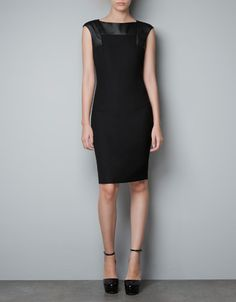Zara, of course, does the budget version with flair - by using fabric and faux leather but keeping that chic silhouette. $79  DRESS WITH FAUX LEATHER APPLIQUÉS - Dresses - Woman - ZARA United States