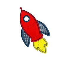 Rocket Applique Machine Embroidery Design-INSTANT by SewChaCha