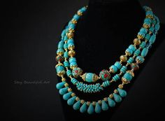Natural Turquoise Gemstone with Nepal Beads Statement Necklace