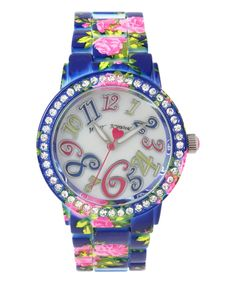 Another great find on #zulily! Crystal & Blue Flower Watch by Betsey Johnson #zulilyfinds