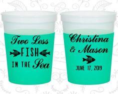 Two Less Fish in the Sea Wedding, Cheap Mood Stadium Cups, Fisherman, Fishing Wedding, Green Mood Cups (271)