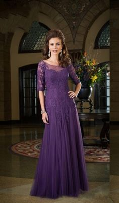 Mother Bride Dresses 2015 Classic Half Sleeves Dark Purple Dress Of The  Groom Tulle Applique Lace Sheer Neck Long Wedding Evening Party Gown 63bc1718e039