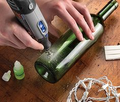 dremel-with-drill-for-glass - Home Decor -DIY - IKEA- Before After Dremel 4000, Dremel Drill, Cutting Glass Bottles, Recycled Glass Bottles, Wine Bottle Crafts, Bottle Art, Dremel Tool Projects, Dremel Carving, Glass Engraving