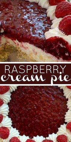 Raspberry Cream Pie has a sweet, cheesecake layer topped by a fresh raspberry layer inside an easy and convenient store-bought graham cracker crust! Cream Cheese Pie, Cheese Pies, Just Desserts, Delicious Desserts, Yummy Food, Raspberry Cream Pies, Raspberry Desserts, Black Raspberry Pie, Fresh Raspberry Recipes