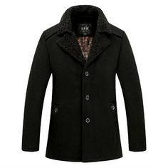 Sale 14% (84.87$) - Mens Winter Woolen Turn-down Collar Single-breasted Trench Coat Parka Jacket