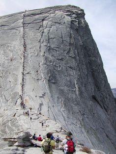 travelhighlights: Climbing the Half Dome by David Gunderson Yosemite National Park, California, USA Via fuckyeahprettyplaces Yosemite Camping, Mountain Trails, Yosemite Valley, California Travel, Yosemite California, Yosemite National Park, Half Dome, Trekking, Places To See