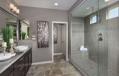 LOVE that tile!! and the shower, and gray paint. Plan 2 - Deer Valley New Home Features   Murrieta, CA   Pulte Homes New Home Builders   Meadowlark