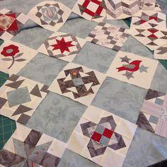 """We're playing with Linda's #modasamplershuffle blocks, auditioning fabrics and setting ideas. #quilt #sixinchblocks #mooseitup #showmethemoda @lthurber56"""