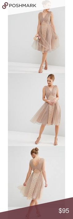 ASOS WEDDING Mesh and Lace Insert Midi Prom Dress Beautiful mesh overlay dress. Perfect for a wedding or evening event. I love the ethereal feel of this feminine piece. Make this your next posh purchase today xx ASOS Dresses Midi