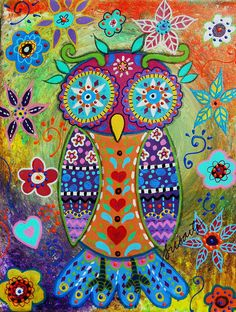 Whimsical Owl Painting  - Whimsical Owl Fine Art Print