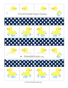 Navy Blue Polka Dot  Baby Duck Paper Chains