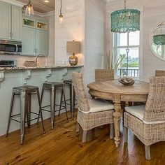 Wicker chairs with iron bar stools