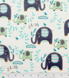 Splash Elephant Fun Fabric By The Yard. $10.00, via Etsy.