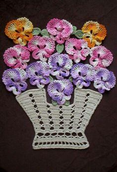 "New Handmade Crochet ""Bakers Dozen Basket of Pansies"" Doily with Life Size Pans Mais Crochet Coaster Pattern, Crochet Flower Patterns, Crochet Diagram, Crochet Motif, Crochet Designs, Crochet Doilies, Hand Crochet, Crochet Wall Art, Crochet Home"