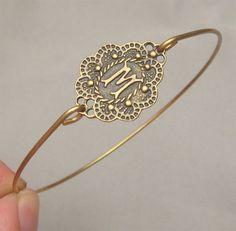 Letter M Brass Bangle Bracelet