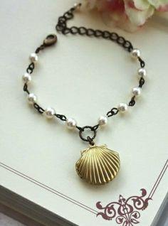 Mermaid's Locket with Ivory Pearls Adjustable Bracelet | By Marolsha.