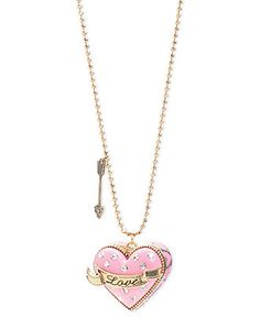 """Betsey Johnson Necklace, Gold-Tone Glass Crystal """"Love"""" Heart Pendant - Fashion Necklaces - Jewelry & Watches - Macy's"""
