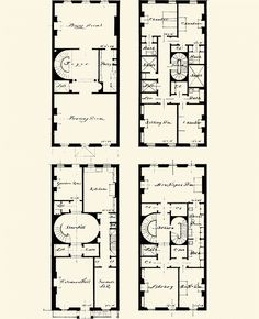 New York Townhouse Floor Plans Architecture Blueprints, Architecture Drawings, Architecture Plan, English Architecture, Home Building Design, Building Plans, Apartment Floor Plans, House Floor Plans, New York Townhouse