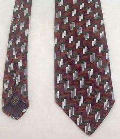"""XMI, Nordstrom, 4""""x62"""", 100% Silk, Square Pattern-Orange/Red/Green/White,Necktie #XMI #Tie"""