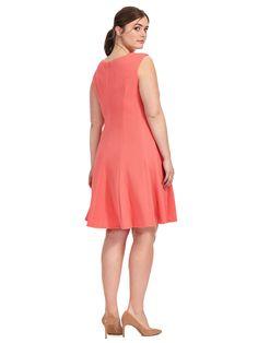 Sandra Darren | Fit & Flare Dress In Melon | Gwynnie Bee