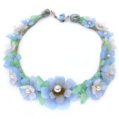 Image of Vintage Art Deco Louis Rousselet Pastel Vaseline Flower Petal Collar Necklace