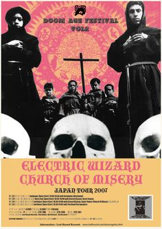 Electric Wizard tour poster with religious imagery and connotations of death. This contrasts with the psychedelic background which shows that the genre is doom metal.