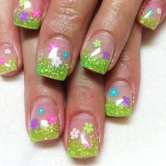 Flowers decals green glitter french nails