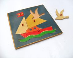 Vintage Wooden Puzzle  Sail Boat with Seagull  by AllFairness, €5.00